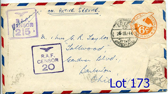 173 raf to us ms on active service on 6c air canc egypt postage prepaid 2 se 44 f handstamp raf censor 20 same 215 with letter f 1309